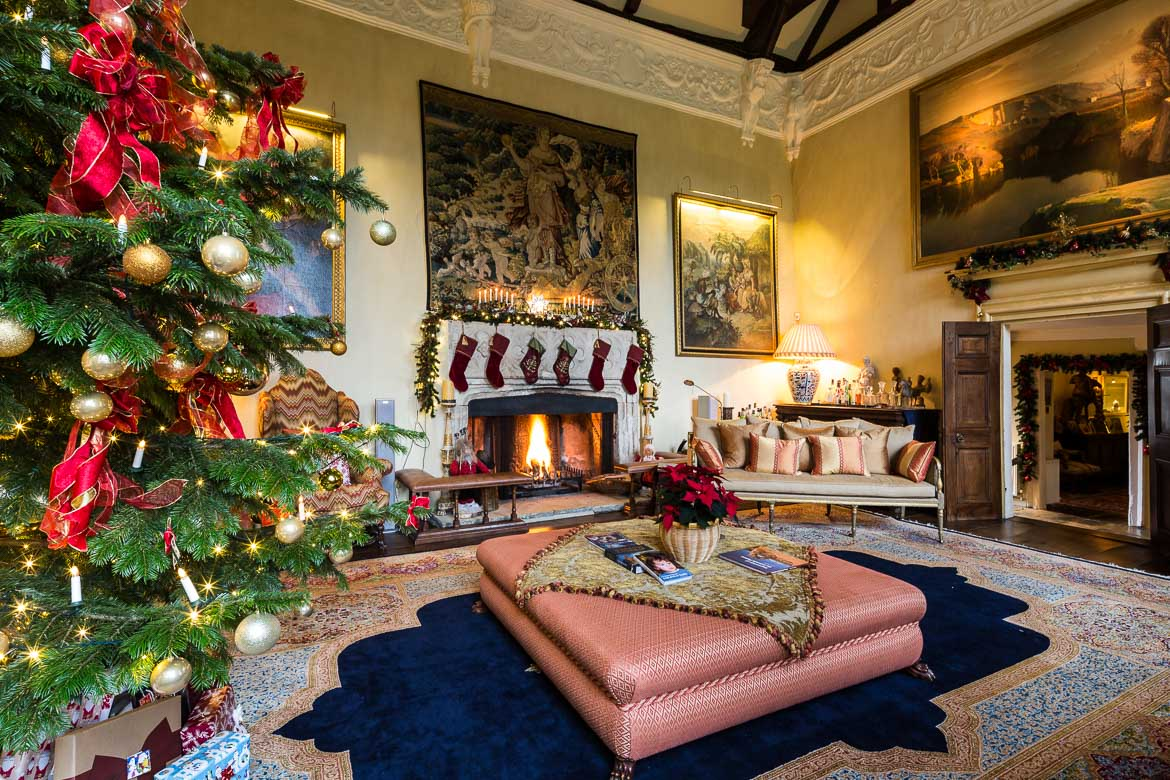 The Great Hall at Christmas time. The fireplace in the background was build by William Sherman in 1567, after the Grey family was executed. The Great Hall has always been the centre of the living in the Manor.