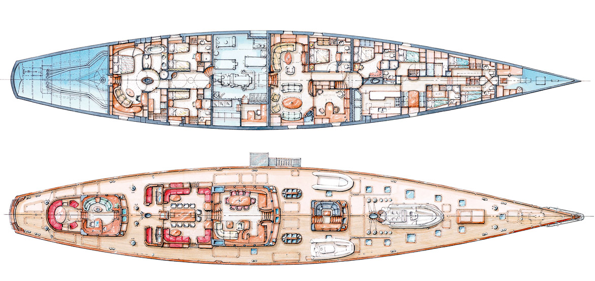 Plan of deck and interior