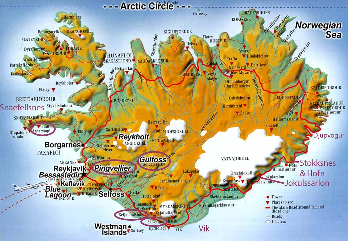 Iceland. We travelled along the south and west coasts of Iceland and important places in the text or captions are marked on the map.