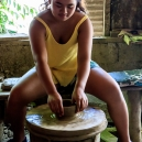 Mikee in a local pottery, Vigan
