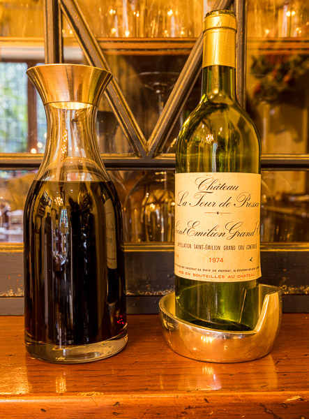 … and a bottle of Chateau La Tour de Pressac from 1974